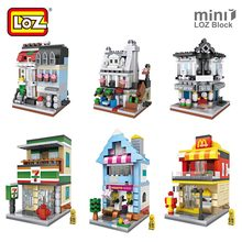LOZ Mini Blocks City Mini Street View Building Blocks Assembling Toys Bricks Square LOZ Architecture Model House Shop Store Kits
