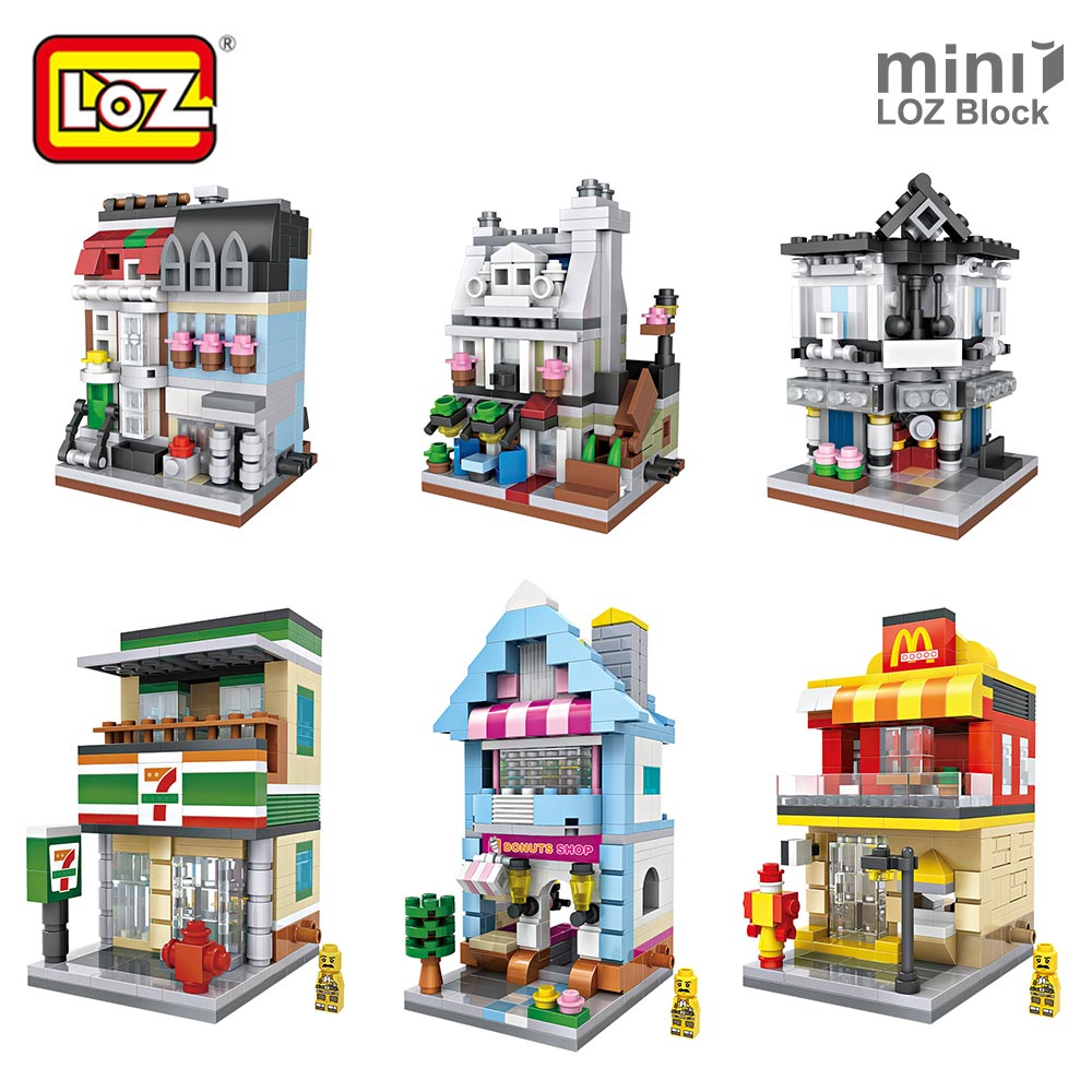 LOZ Mini Blocks City Mini Street View Building Blocks Assembling Toys Bricks Square LOZ Architecture Model House Shop Store Kits loz mini blocks batman robin ironman thor loki harley quinn poison mini super hero bricks diy building blocks toys gift