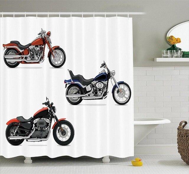 Motorcycle Decor Douchegordijn Illustratie Van Drie Motorfietsen ...