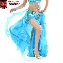 Kobiety taniec brzucha podziel spódnica Sexy profesjonalny Bellydance odzież treningowa Maxi długi Curl spódnice Lady 2 warstwy taniec kostiumy