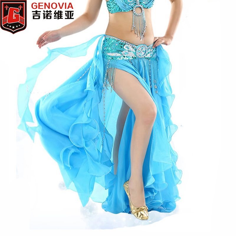 Women Belly Dance Split Skirt Sexy Professional Bellydance Training Clothes Maxi Long Curl Skirts Lady 2 Layer Dancing Costumes