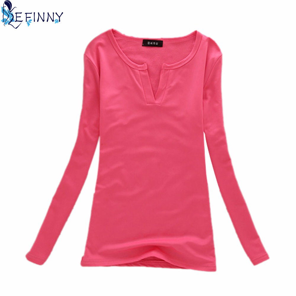 Basic Women V Neck Stretch Long Sleeve Girls Casual Solid