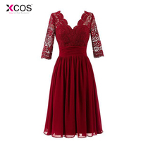 Elegant Burgundy Tea Length Mother Of The Bride Dresses 2018 Lace And Chiffon V Neck 3/4 Long Sleeve Mother Of Groom Gowns