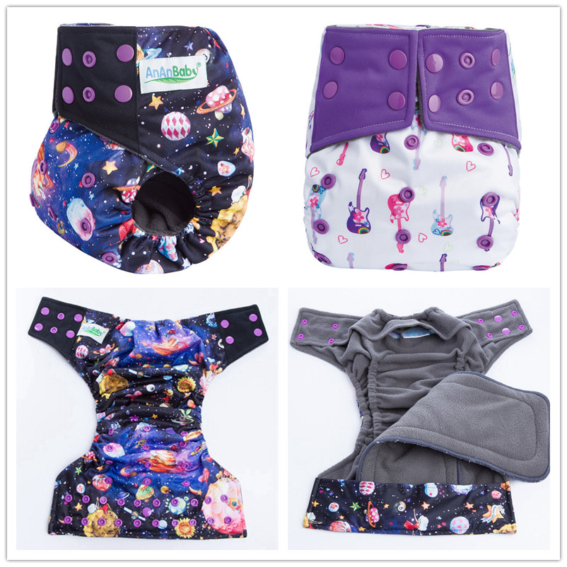 Ananbaby Resuable Bamboo Charcoal Inner Cloth Diaper Washable Baby Cloth Nappies With Double Leaking Gusset & Snap Insert HA018