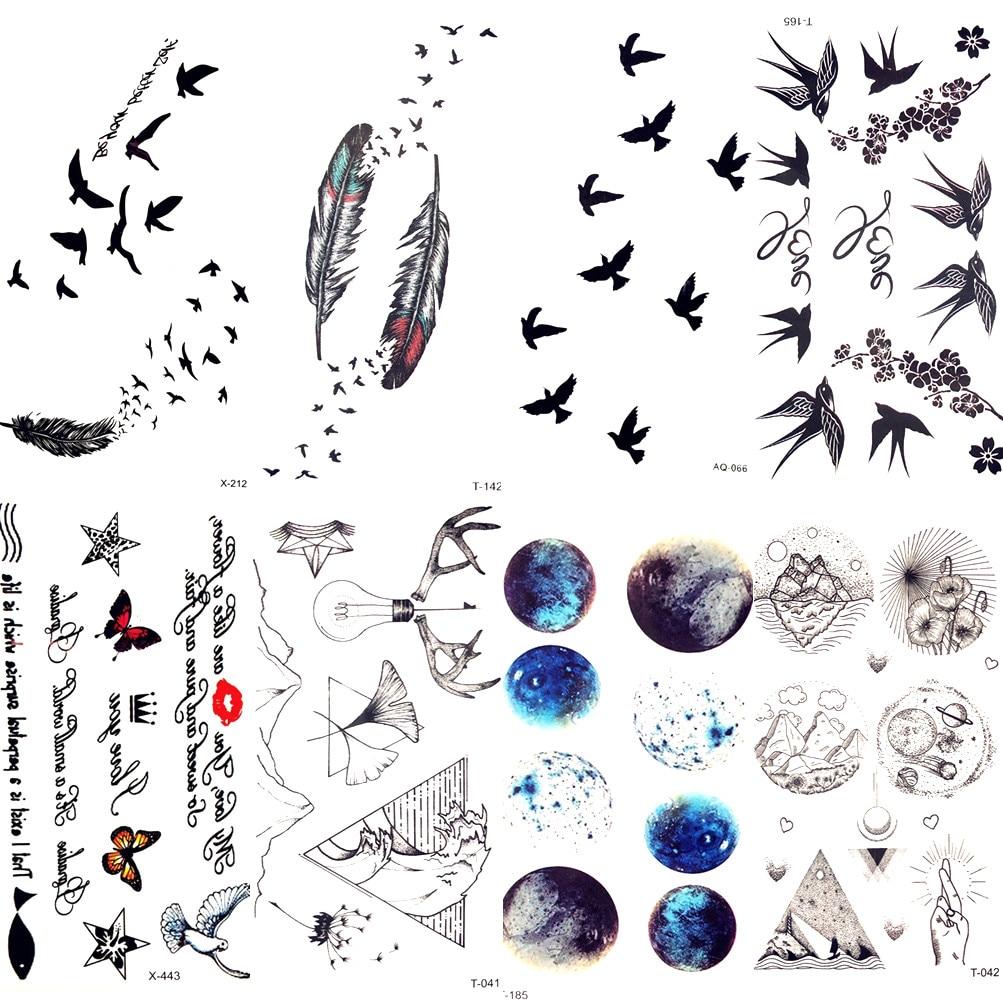 Small Black Feather Birds Swallow Temporary Tattoo Women -7735
