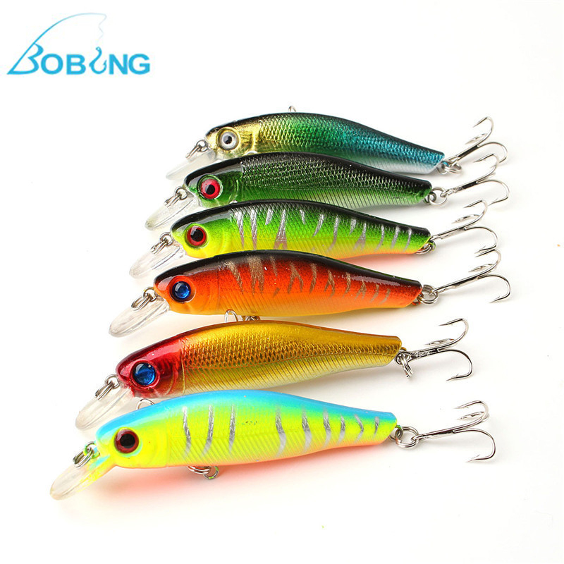 Bobing 6pcs/lot Colorful 8.5CM/8.5G 3D Fish Eyes Fishing Lure Artificial Minnow Hard baits tackle with Hook Reflective Fake Bait