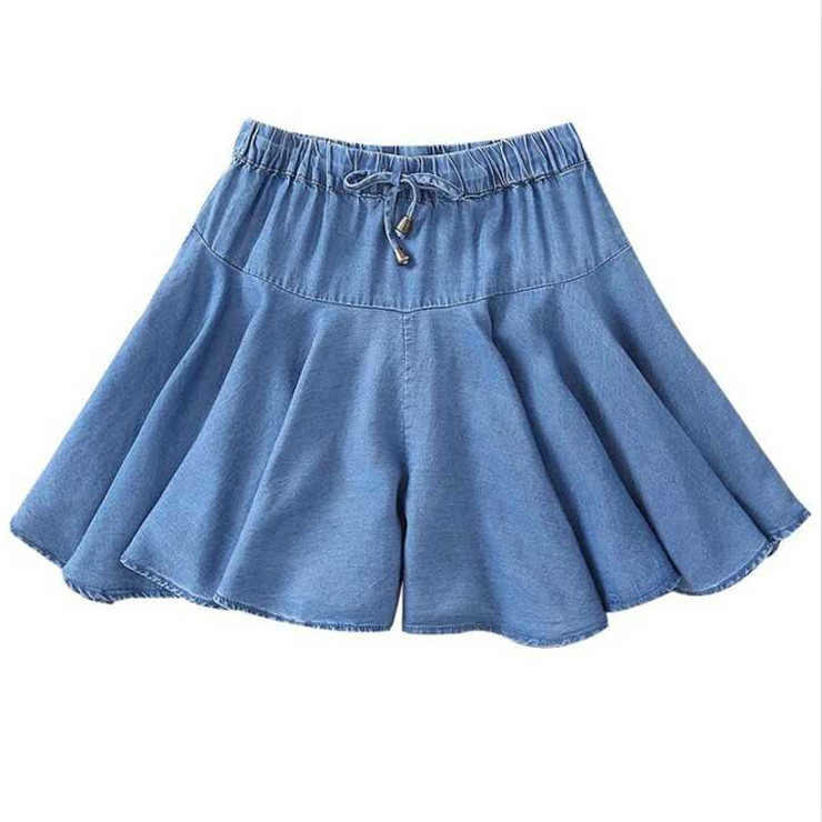 2019 Summer Women Shorts Skirts High Waist Sweet Denim Ruffle Shorts Plus Size 6XL 7xl Jeans Shorts Large Size Skirts Black Blue