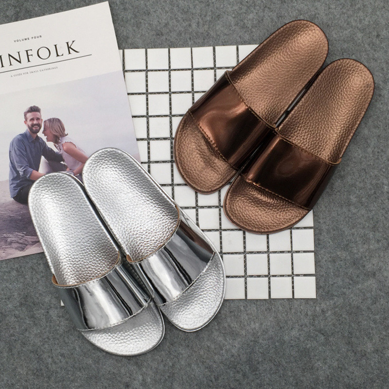 2018 Fashion Women Slides Slippers Platform Sandals Summer Bling Beach  Slides Flip Flops Comfortable Women Shoes Chaussure Femme-in Slippers from  Shoes on ... a7aeb396665b