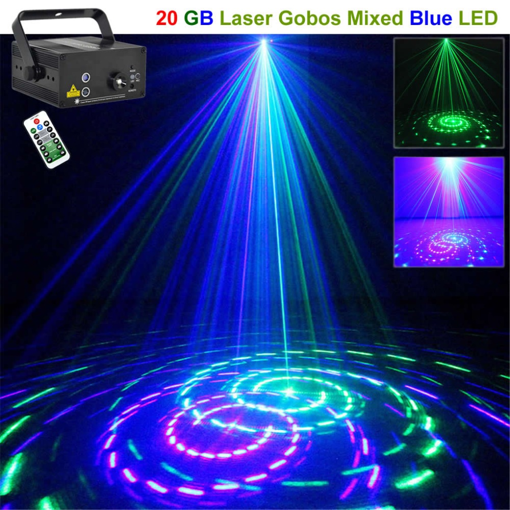 Mini 20 GB Green Blue Gobos Remote Laser Projector Light 3W Blue LED Mixing Effect DJ KTV Party Show Holiday Stage Lighting 20GB все цены