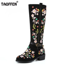 TAOFFEN Size 33-46 Women Real Leather High Heel Boots Embroidery Zipper Half Short Boot Warm Fur Shoe Winter Boot Woman Footwear