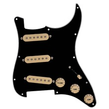 Kmise Electric Guitar Loaded Pickguard Scratch Plate for Fender Strat Parts 3 Ply SSS Black