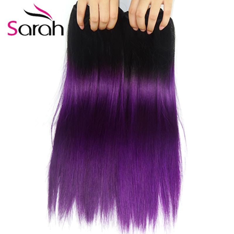 Two Tone Ombre 1b Purple Brazilian Hair Extensions
