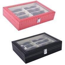 SZanbana Кожаный 8 штук хранения очков и солнцезащитных очков Чехол-органайзер(розовый и черный