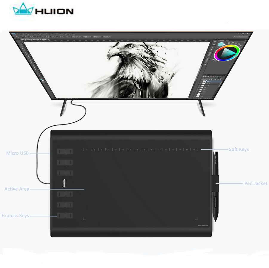 Huion 10 x 6 Professional Animation Digital Drawing Tablet New 1060 Plus Upgrade With 8G Micro SD card for Wins Glove Bag Gift image