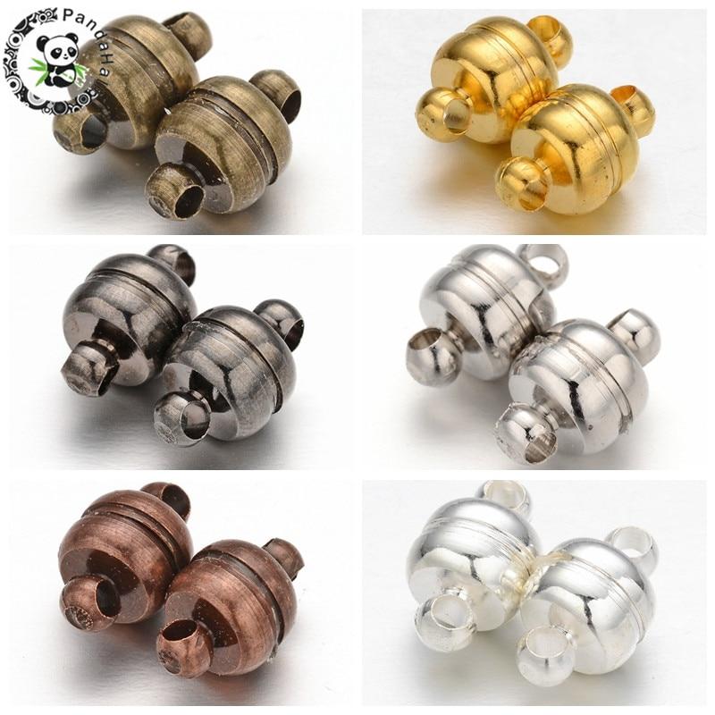 Pandahall 100 Sets 11x7mm Bronze Oval Magnético Fechos para Resultados Da Jóia DIY Fazendo Acessórios Buraco Componente: 1.5 milímetros