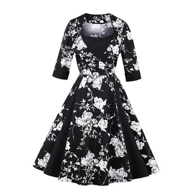 MisShow 2018 Autumn Woman Dresses 4XL Plus Size Vintage Dress 50s Black  Printed Robe Female Party Retro Dress Tunic Vestidos