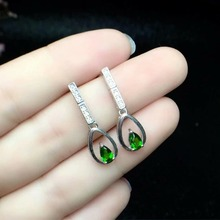 hilovem 925 sterling silver Natural diopside earrings fine Jewelry women trendy wedding wholesale gift new 3*5mm ce030501agt