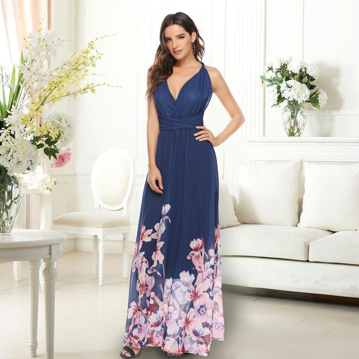 Ladies Summer Beach Party Sundress Long Womens Holiday Print Deep V-Neck Boho Strappy Maxi Dress