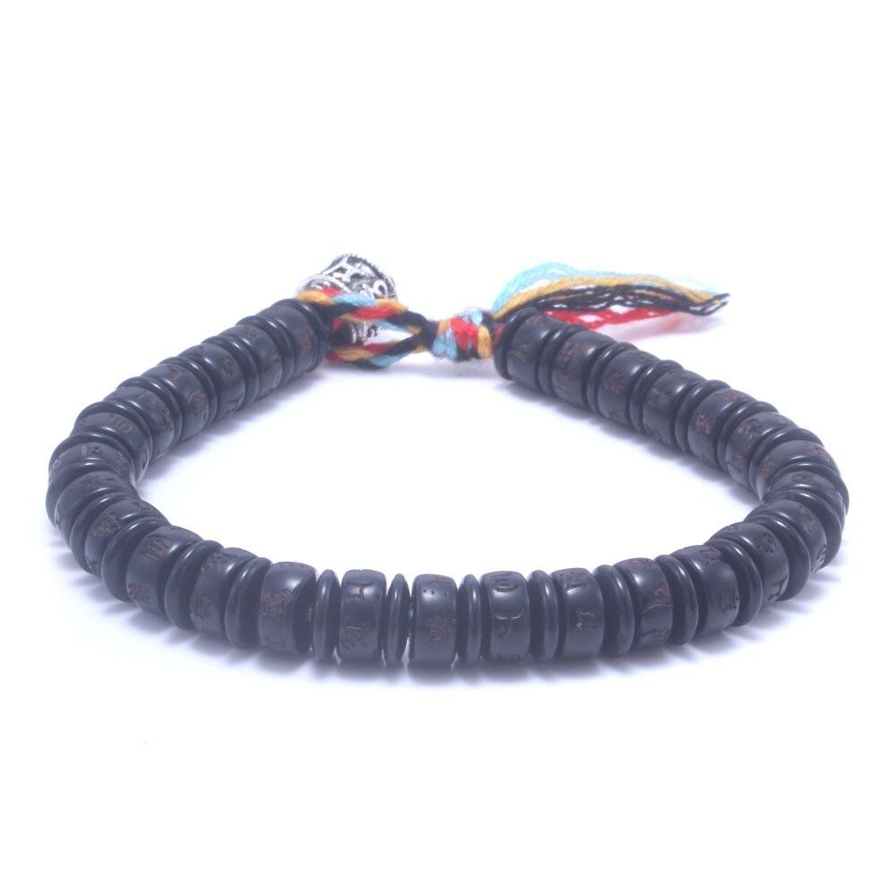 Tibetan buddhist hand braided lucky men bracelet yoga meditation jewelry Coconut shell and cotton tassel bracelet for women tibetan yoga of movement