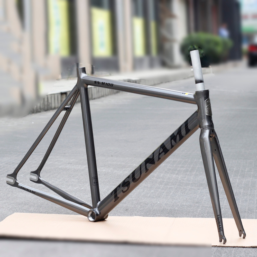 TSUNAMI Aluminium Fixed Gear Frame Track Bike 700c Road Bicycle Frameset Fork цена и фото