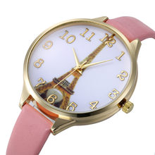 2017 New Arrival Hot Sale Paris Eiffel Tower Women Lady Girl Faux Leather Quartz Wrist Watch Relogio Feminino Relojes Mujer Gift(China)