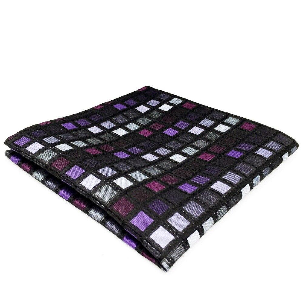 DH2 Purple Checkes Pocket Square For Men Silk Handkerchief Wedding Fashion Hanky