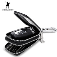 WilliamPOLO Men Key Small Wallet Keys Home Car Keys bag Alligator Genuine Leather with Two layer Portable High quality Pocket