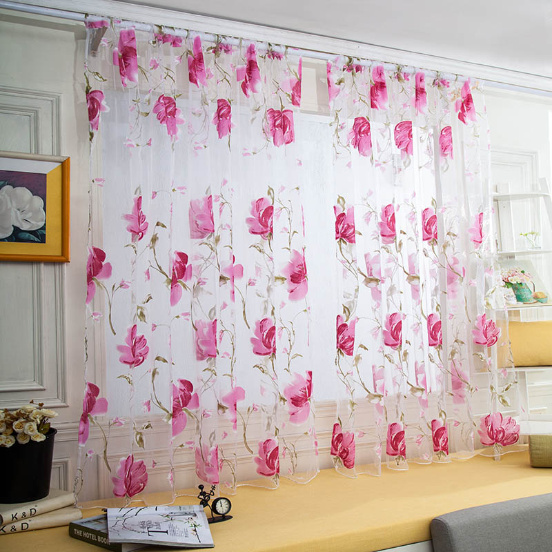 Tulle Curtains Floral Design Window Treatments White Fabrics Ready Made Jacquard Kitchen Door Curtains Sheer Panel Transparent