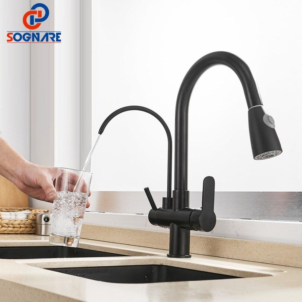 SOGNARE Pull Out Kitchen Faucet Black Kitchen Mixer Water Faucet Kitchen Tap Water Filter Tap For Kitchen Crane Torneira Cozinha