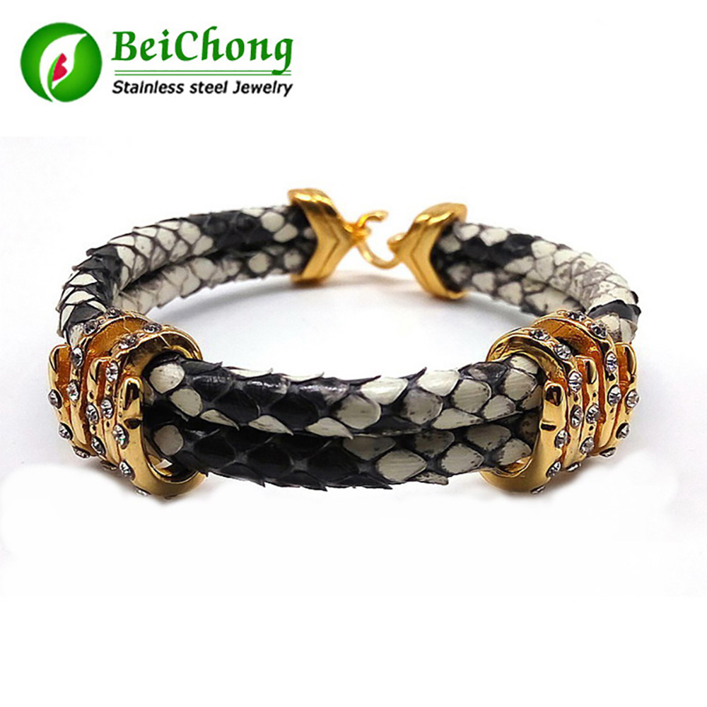Men Bracelets Mens White Python Leather Bracelet With Cubic Charming Braiding Macrame Bracelet charming glaze tube shape bracelet for men