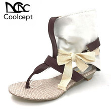 Coolcept Women Summer Hot Flat Sandals High Ladies Slippers Heel Shoes Sexy Female Shoes Women s