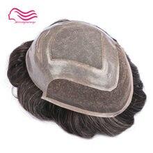 Alitsingtaowigs swiss frente do laço com fino mono men toupee versalta marca, frente peruca de renda, substituição do cabelo frete grátis