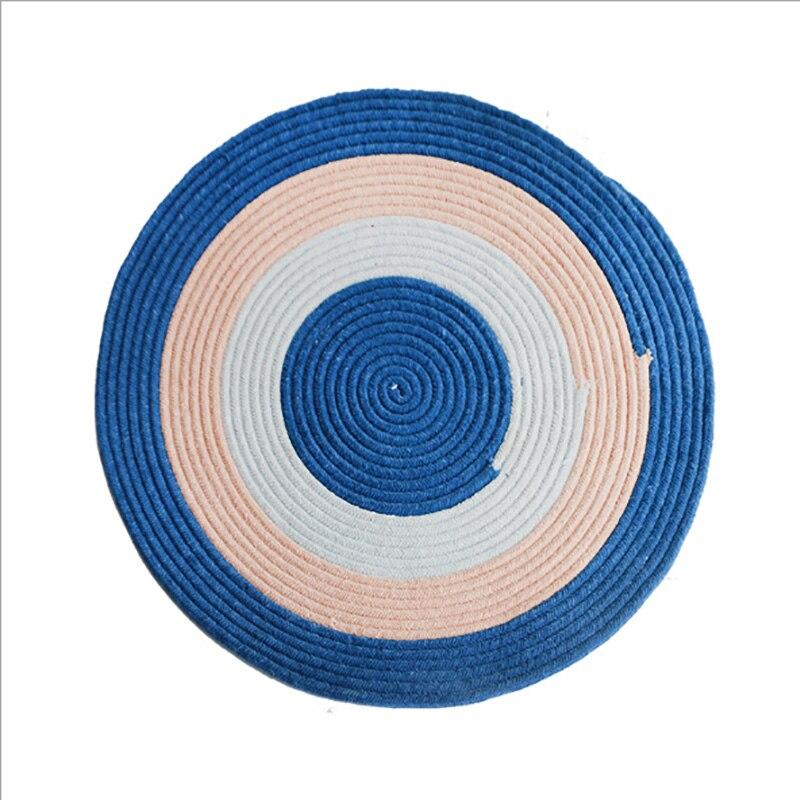 Tapis rond tissé à la main rayé bleu tapis doux et épais pour les chambres à coucher tapis de pied lavable Durable de tapis de salon