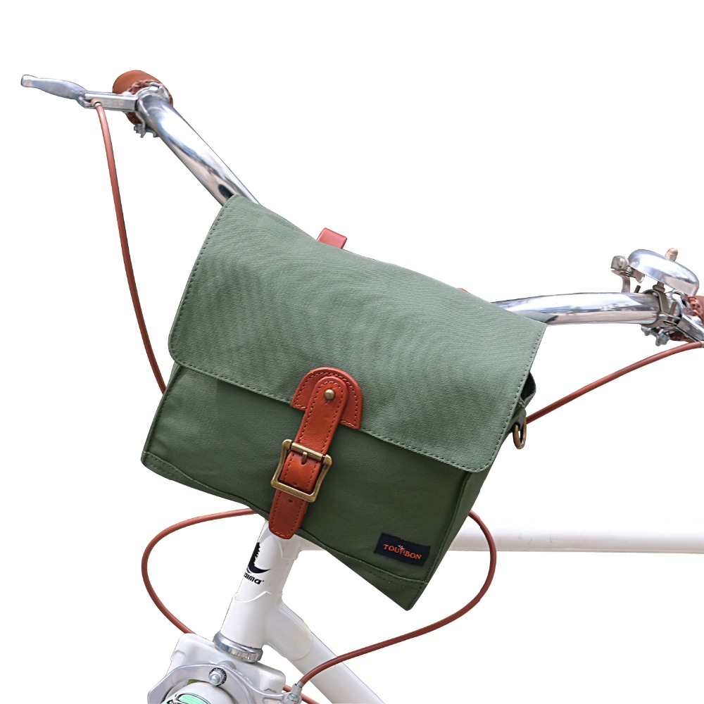 Tourbon Bicycle Handlebar Bag Pack Front Tube Basket Pannier Messenger Bag Outdoor Accessories Green Waxed Waterproof Canvas