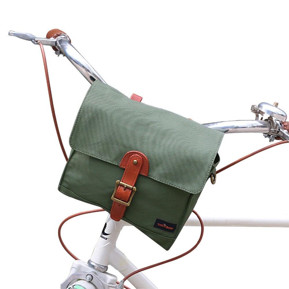 Tourbon Manubrio Della Bicicletta Del Sacchetto del Pacchetto Cestino Tubo Anteriore Del Pannier Messenger Bag Outdoor Accessori Verde Cerato Impermeabile della Tela di Canapa