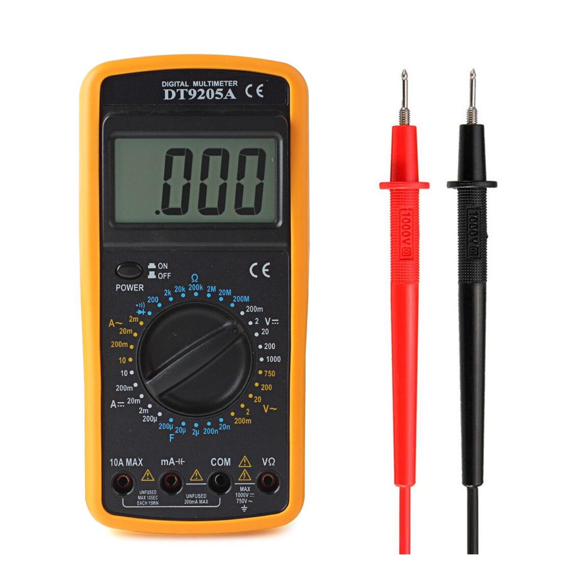 DT9205A LCD Digital Multimeter AC/DC Voltmeter Ohmmeter Ammeter Capacitance Tester Measuring Tool dt9205a lcd display multi fuction digital multimeter tester ac dc black