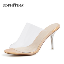 SOPHITINA Summer New Transparent Upper Fashion Woman Shoes Concise Comfortable Slip-on High Heel Party Trending Sandals PO187