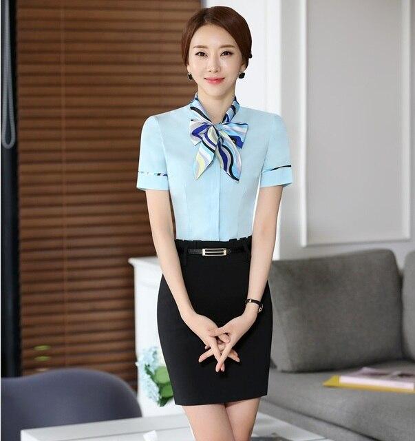 Senhoras Formal Estilo Uniforme Saia Ternos Com Tops E Mini Saia Feminino Profissional Conjunto de Roupas roupas Uniformes Salão de Beleza