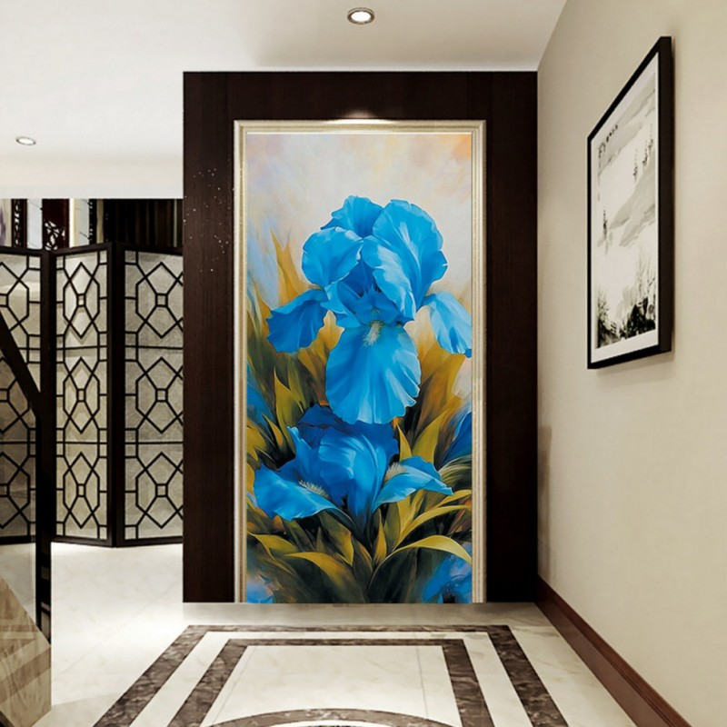 Custom 3d wallpaper  Orchid oil painting entrance mural restaurant bedroom hallway wallpaper home decoration free shipping 3d stereo entrance hallway custom wallpaper vertical version european oil painting wallpaper mural