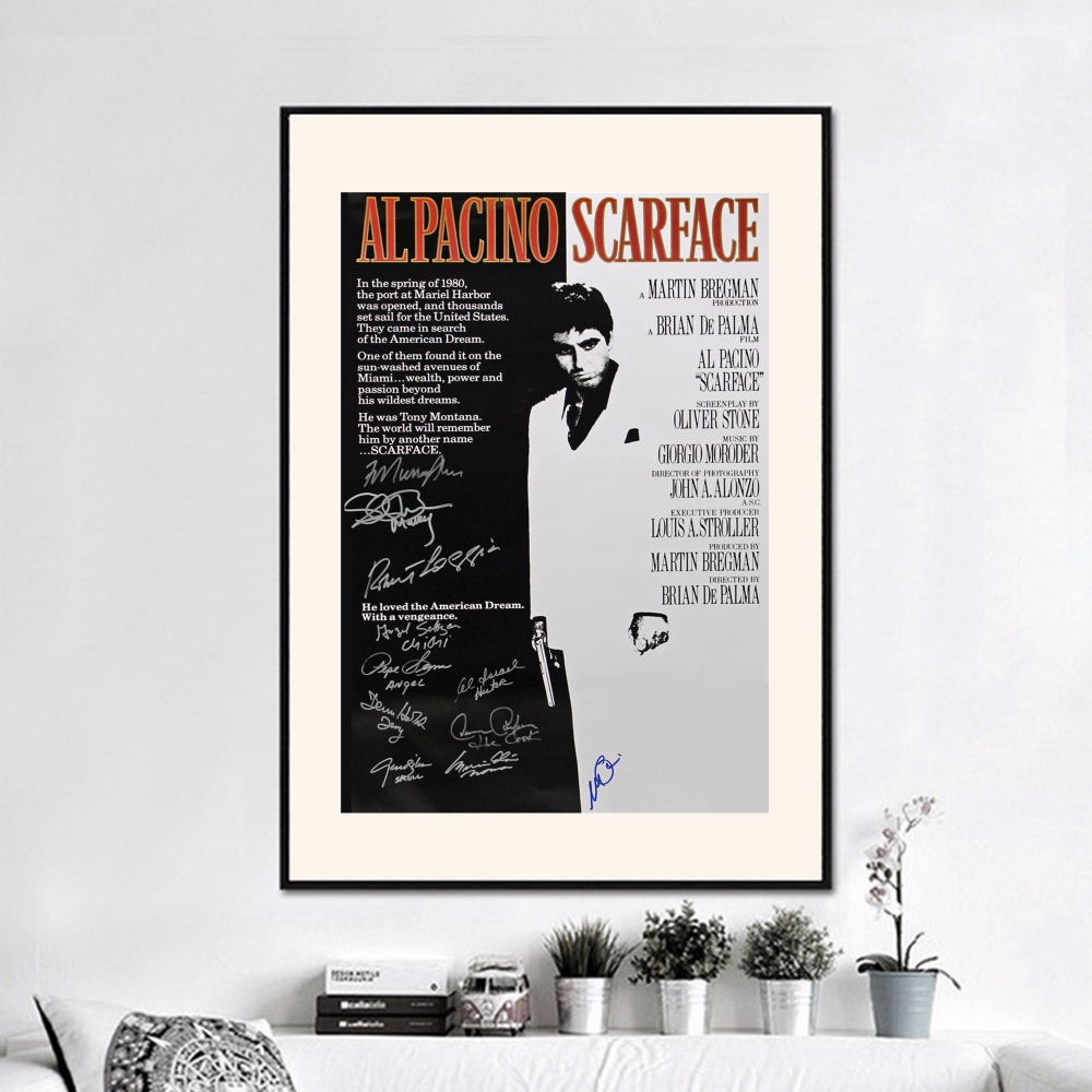 Scarface money power respect vinyl wall decal for home decore - Scarface Movie Vintage Art Print Painting Poster Wall Pictures For Room Home Decoration Wall Decor Silk