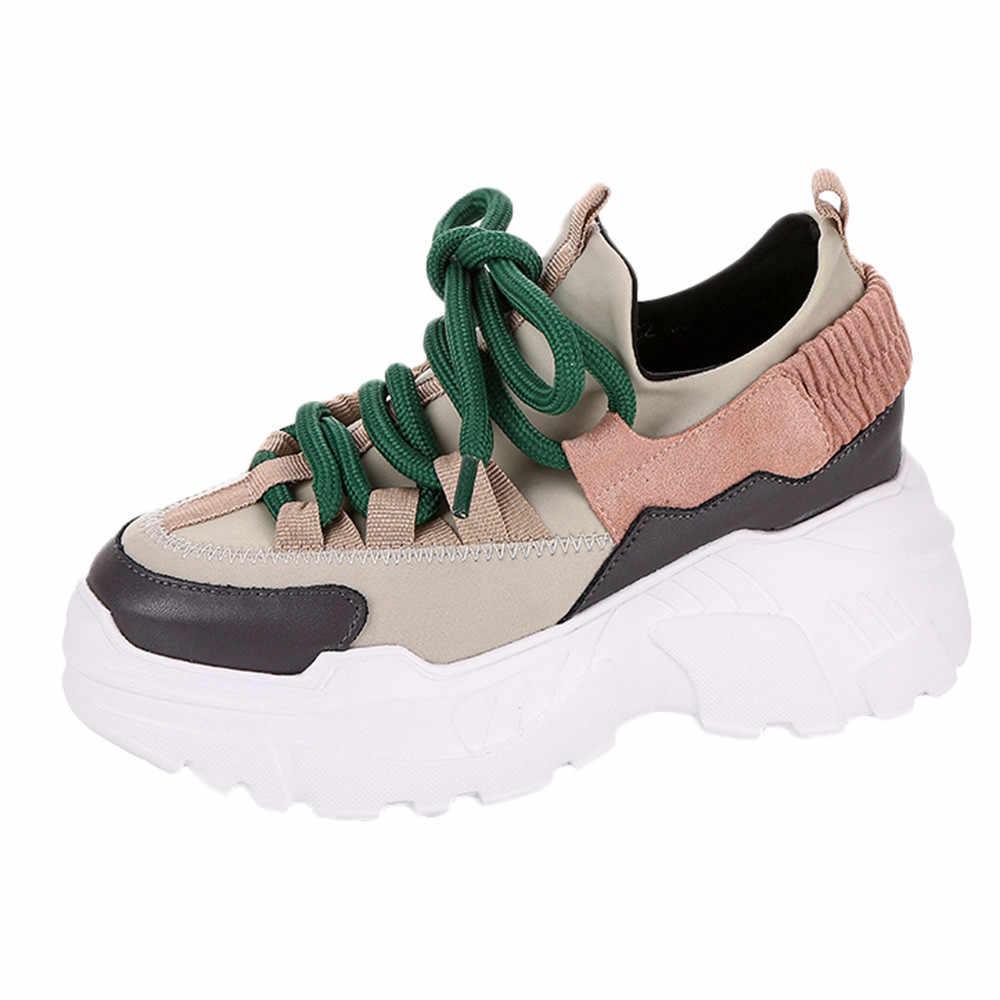 KLV Neue Plattform Turnschuhe Frauen Dicke Sohle Laufschuhe Höhe Zunehmende 8 CM Chunky Schuhe Frau Chaussures Femme für frauen #3