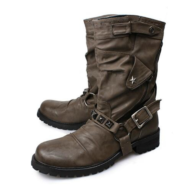 Men shoes luxury brand black genuine leather rivets studded cowboy boots mens botas militares hombre winter