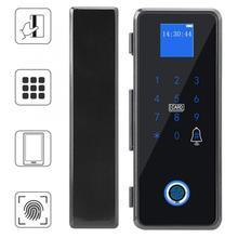 Fingerprint Password IC Card APP Door Lock For Frameless Glass Door Access Control System door handle Smart door lock недорого