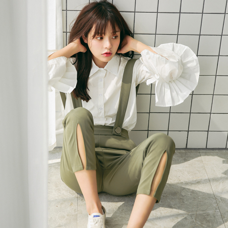 801bf2201816be 2018 Autumn Fashion Women Korean Sweet White Layer Large Reffles Blouse  Preppy Style Simply Splicing Ladies Shirts Tops Clothing-in Blouses & Shirts  from ...