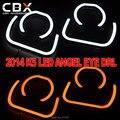 Novo LED Angel Eye Forma Semi-círculo e Quadrado Forma 4 PCS Personalizado DRL Duas Cores Branco Amarelo 12 V para 2014 KIA K5 Uso Exclusivo