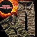 Inverno Dos Homens de Camada Dupla Calças Quentes Esportes Ao Ar Livre de Carga Calças Largas Homens Engrossar Calças De Lã verde Do Exército Global Mais tamanho