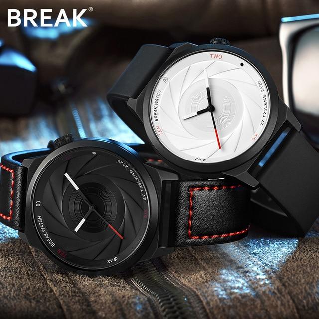 BREAK Men Luxury Brand Fashion Casual Rubber Band Aperture Quartz Wristwatches Unique Unisex Women Creative Sports Watches reloj