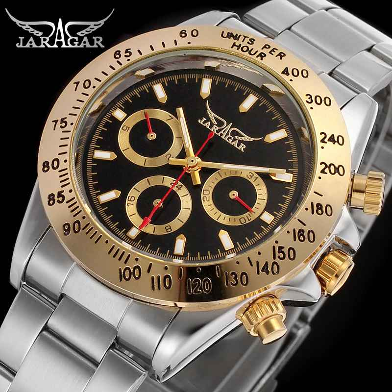 JARAGAR Mens Watches Top Brand Luxury Automatic Mechanical Watch Clock 2017 New Series Auto Date Gold Black Relogio Masculino new date show mens auto mechanical watch chrono freeship cool