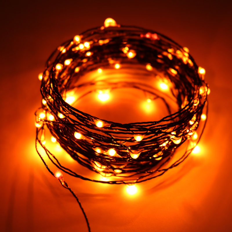wholesale dealer d226c ce7d6 US $10.78 |10M 100LED Halloween String Lights Black Wire Orange Purple  Color Halloween Decoration Fairy Lights for Home Decor-in Holiday Lighting  from ...