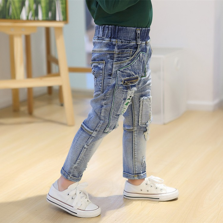 2018 new boys child jeans trousers spring and autumn summer light color thin child trousers male child casual skinny pants creative gradient color skull pattern square shape flax pillowcase without pillow inner